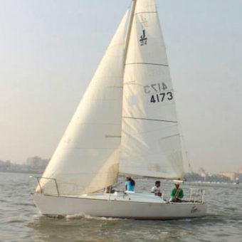 Sailing at Gateway of India, Mumbai, J24 Sailboat