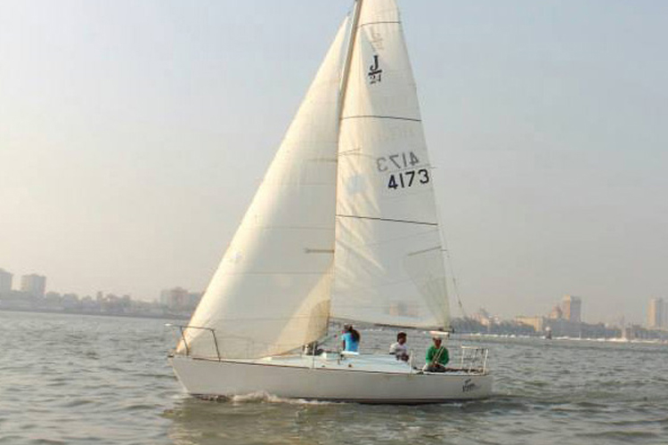 Sailing at Gateway of India, Mumbai, J24 Sailboat