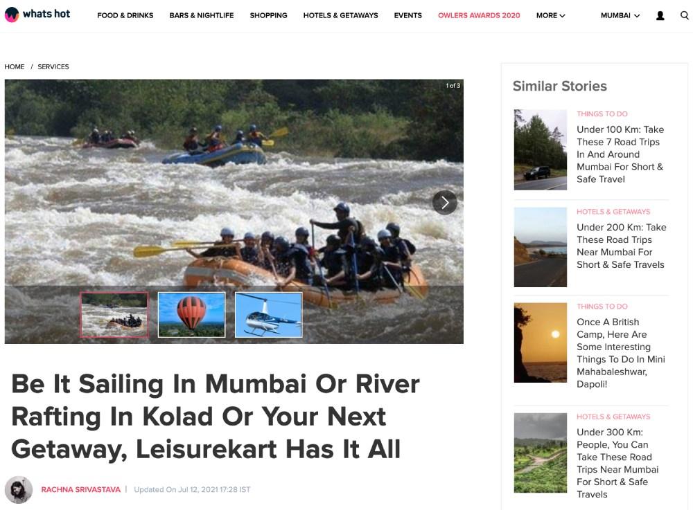 Leisurekart - Featured on Whats Hot Mumbai - 12th July 2021
