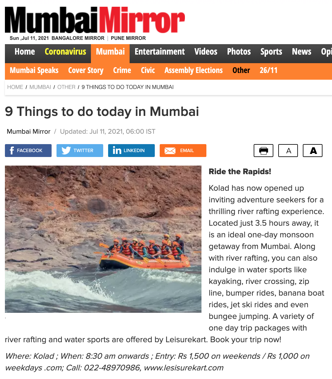 Mumbai Mirror: 9 Things to Do in Mumbai - Leisurekart