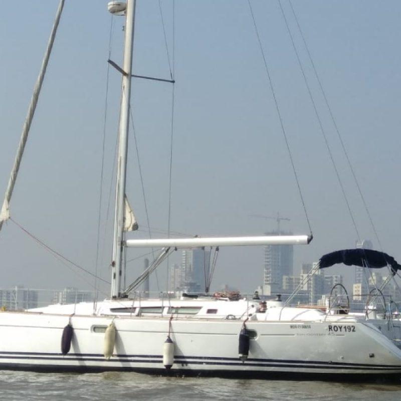 Yacht Sailing in Mumbai at Gateway of India. Jeanneau 45 Yacht.